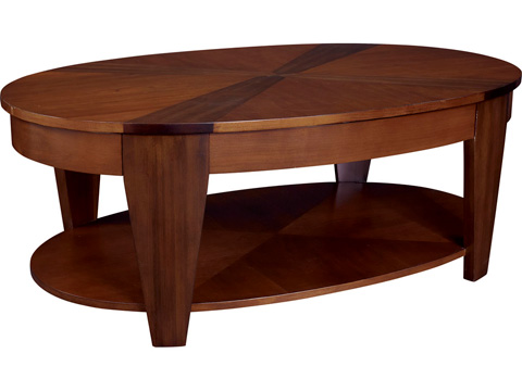 Image of Oval Cocktail Table with Lift-Top