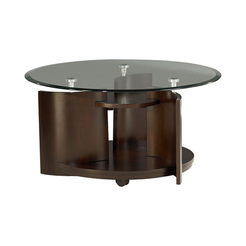Image of Round Cocktail Table with Glass Top