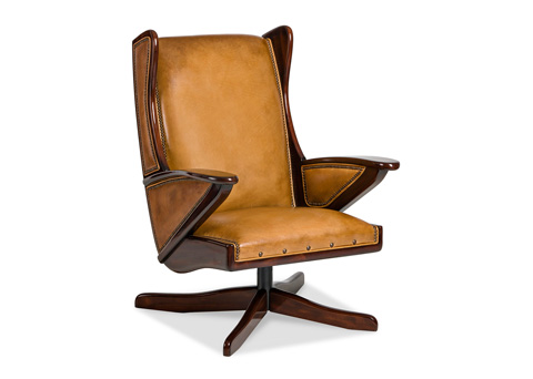 Image of Boomerang Swivel Chair with Wooden Overlays