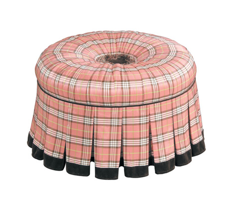 Image of Round Ottoman with Pleated Skirt