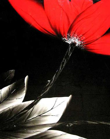 HEBI ARTS, INC - Red Flower on Black Painting - WP0022