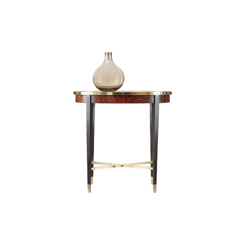 Image of Oval End Table with Brass Rim