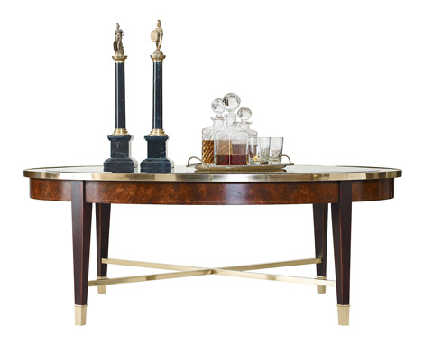 Henredon - Oval Cocktail Table with Glass Top - 2800-40G