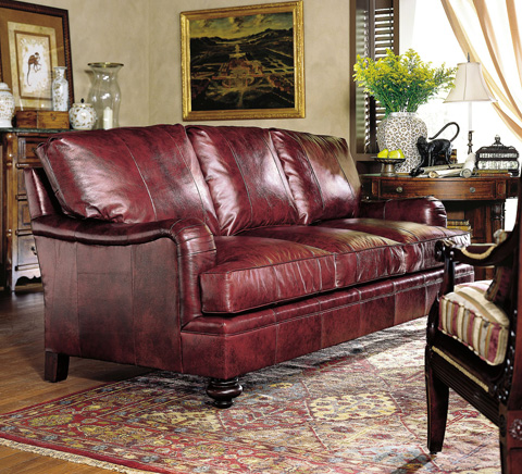 Image of Fireside Round Arm Sofa with Turned Feet