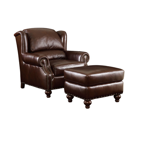 Henredon - Leather Bustle Back Chair - IL8825