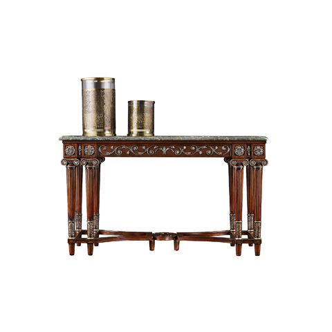Henredon - Console Table with Marble Top - 5040-44B & 5040-44M