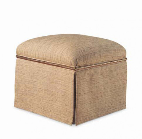 Hickory White - Square Ottoman with Skirt - 153