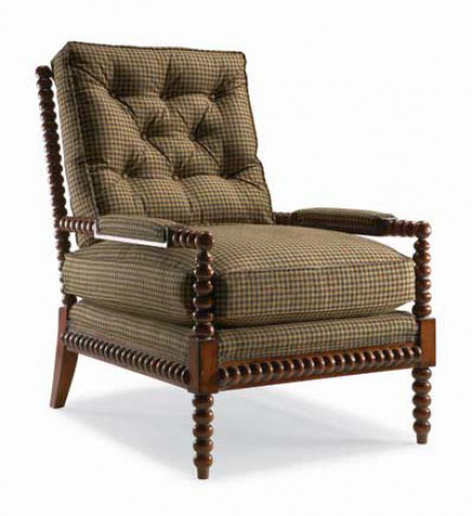 Image of Tufted Exposed Wood Chair