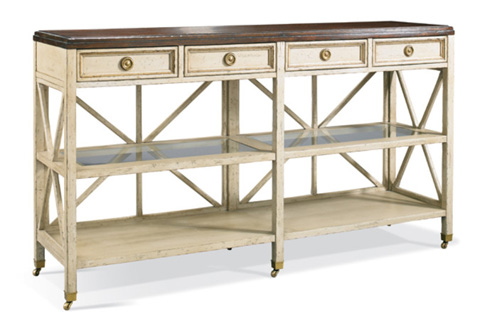 Image of Four Drawer Console Table with Casters