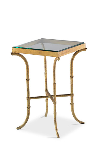 Image of Metal End Table with Glass Top