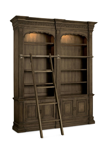 Image of Double Bookcase with Ladder and Rail