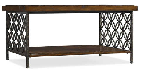 Image of Cocktail Table with Patterned Iron