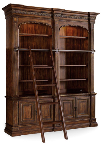 Image of Adagio Double Bookcase with Ladder and Rail