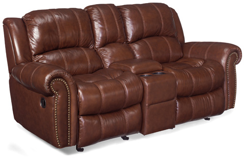 Image of Cognac Glider Reclining Entertainment Sofa