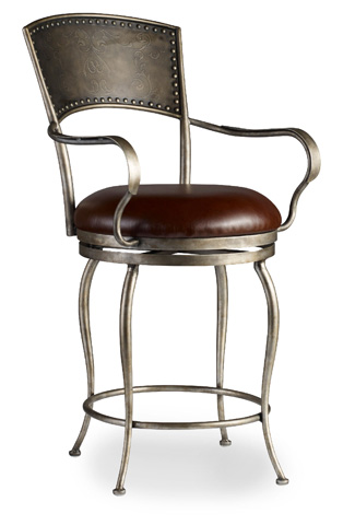 Hooker Furniture - Metal Counter Stool with Leather Seat - 300-25024
