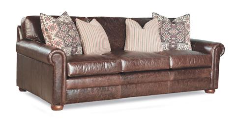 Image of Leather Three Cushion Sofa