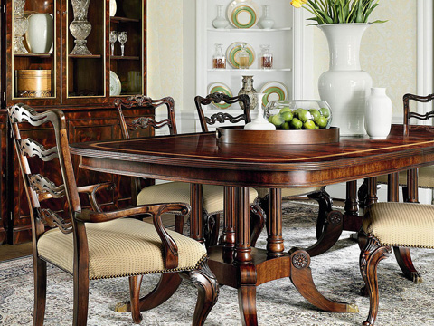 Henredon - Double Birdcage Pedestal Dining Table - 9400-20T/9400-20B