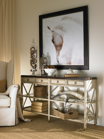 Hickory White - Four Drawer Console Table with Casters - 863-31