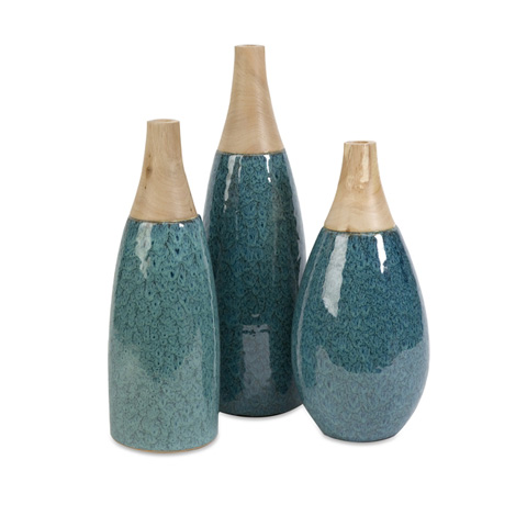 IMAX Worldwide Home - Moluccan Ceramic and Wood Neck Vases - Set of 3 - 11213-3