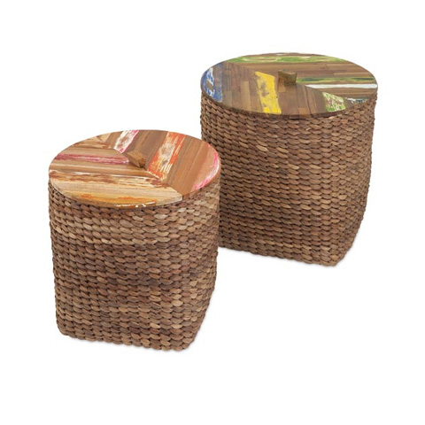 IMAX Worldwide Home - Pavati Woven Basket with Wood Top - Set of 2 - 11623-2
