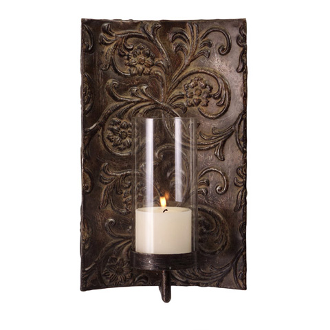 IMAX Worldwide Home - Galicia Embossed Metal and Glass Sconce - 12246