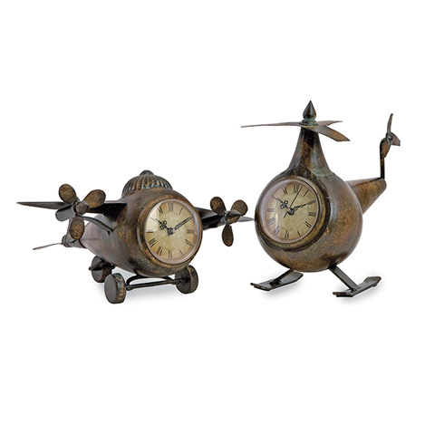 IMAX Worldwide Home - Lindbergh Aviation Clocks - Set of 2 - 12708-2
