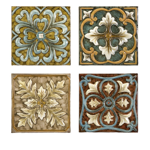 IMAX Worldwide Home - Casa Medallion Tiles - Set of 4 - 12764-4