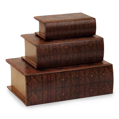 IMAX Worldwide Home - Nesting Wooden Book Boxes - Set of 3 - 13100-3