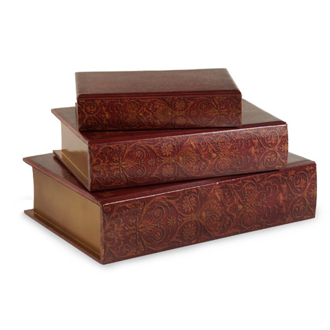 IMAX Worldwide Home - Nesting Wooden Book Boxes - Set of 3 - 13108-3