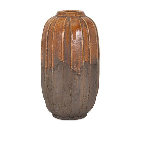 IMAX Worldwide Home - Simone Orange Stone Large Ceramic Vase - 13330