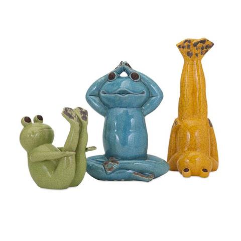 IMAX Worldwide Home - Yoga Frog Statuaries - Set of 3 - 13534-3