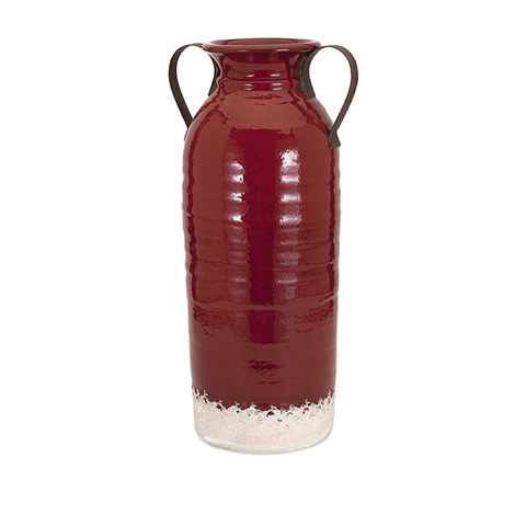 IMAX Worldwide Home - Vermont Large Vase with Metal Handles - 13601