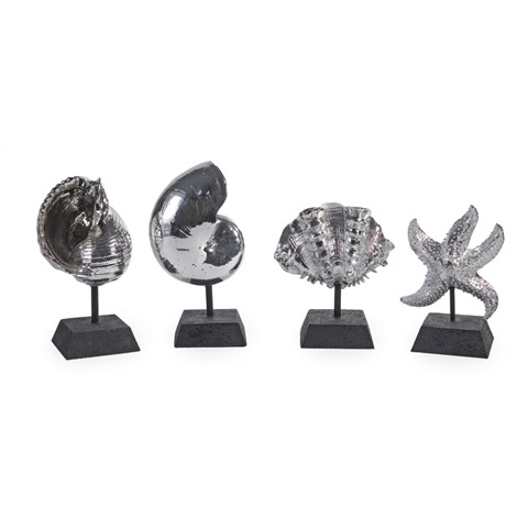 IMAX Worldwide Home - Decorative Silver Shells - Set of 4 - 1403-4