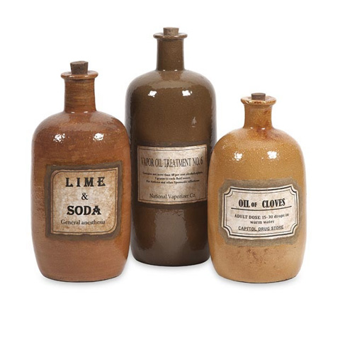 IMAX Worldwide Home - Easton Decorative Medicine Bottles - Set of 3 - 18212-3