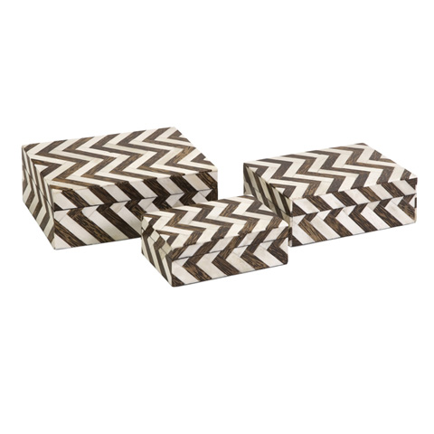 IMAX Worldwide Home - Zig Zag Bone Inlay Boxes - Set of 3 - 19911-3