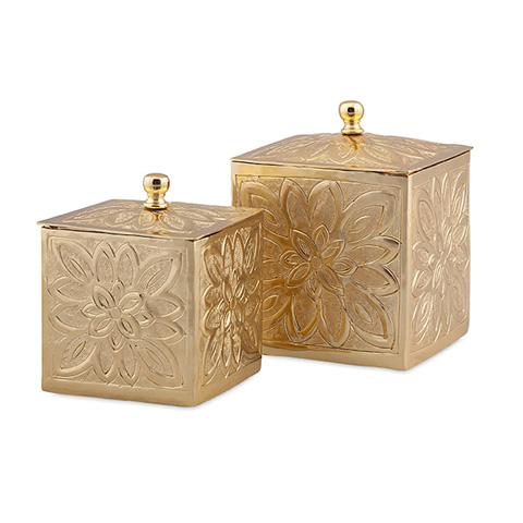 IMAX Worldwide Home - Belle Gold Embossed Boxes - Set of 2 - 19974-2