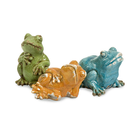 IMAX Worldwide Home - Garza Casual Frogs - Set of 3 - 25089-3