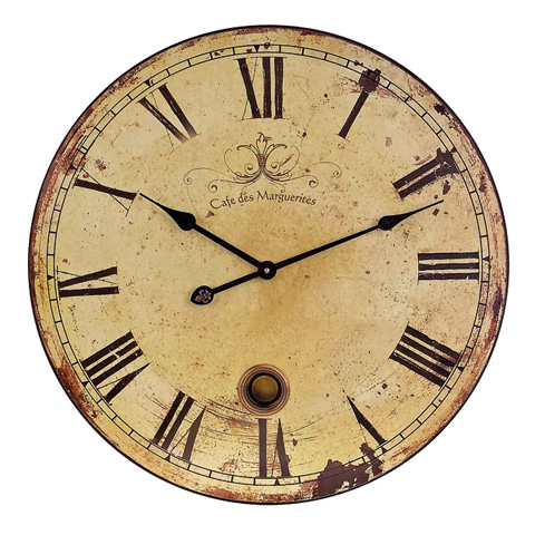 IMAX Worldwide Home - Large Wall Clock with Pendulum - 2511