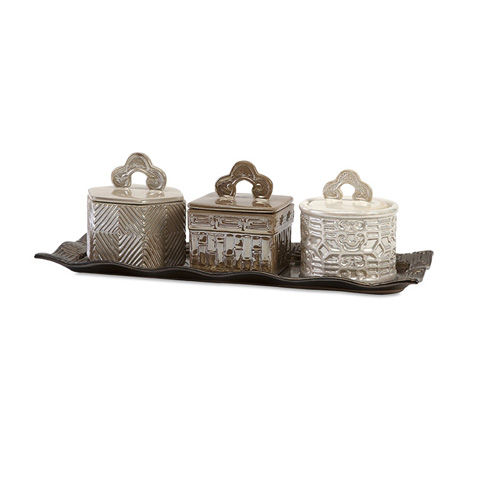 IMAX Worldwide Home - Zeller Lidded Boxes With Tray - Set of 4 - 25267-4