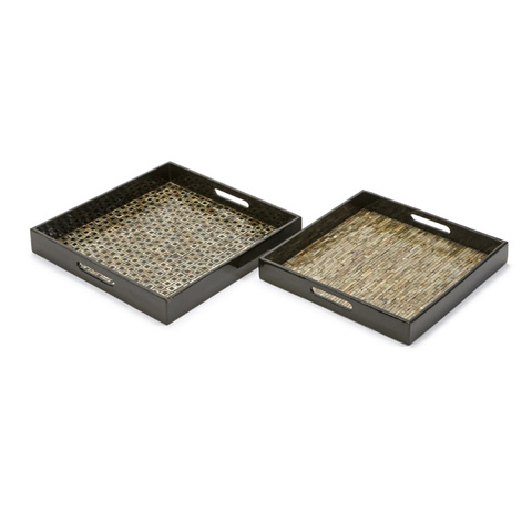 IMAX Worldwide Home - Jacobs Mother of Pearl Serving Trays - Set of 2 - 31102-2