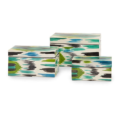 IMAX Worldwide Home - Denni Hand Painted Lacquer Boxes - Set of 3 - 31126-3