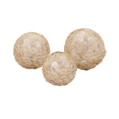 IMAX Worldwide Home - Estela White Shell Balls - Set of 3 - 31134-3