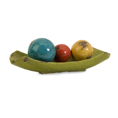 IMAX Worldwide Home - Mercade Decorative Ceramic Balls in Tray-Set of 4 - 40176-4