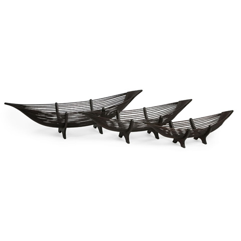 IMAX Worldwide Home - Kawayan Boat Bowls - Set of 3 - 47105-3