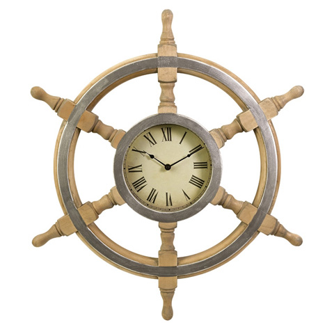IMAX Worldwide Home - Wood Ship Wheel Clock - 47243