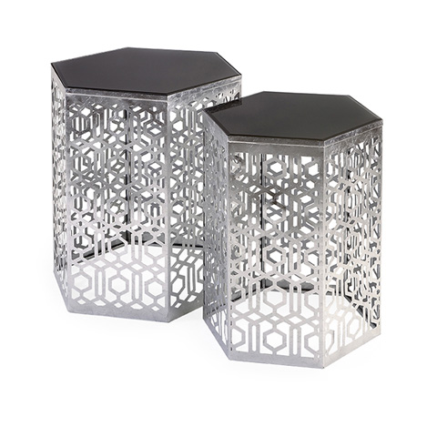 IMAX Worldwide Home - Nikki Chu Lancaster Silver Mirror Table - Set of 2 - 47574-2