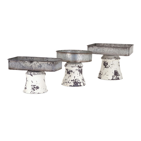 IMAX Worldwide Home - Peterson Metal Pedestal Trays - Set of 3 - 47609-3