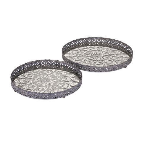 IMAX Worldwide Home - Myers Glass and Metal Trays- Set of 2 - 47613-2