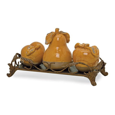 IMAX Worldwide Home - Italia Fruits with Tray - Set of 4 - 50101-4