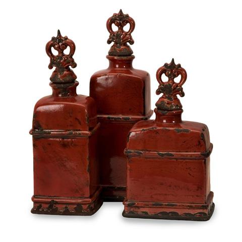 IMAX Worldwide Home - Garnet Bottles with Finials - Set of 3 - 50137-3